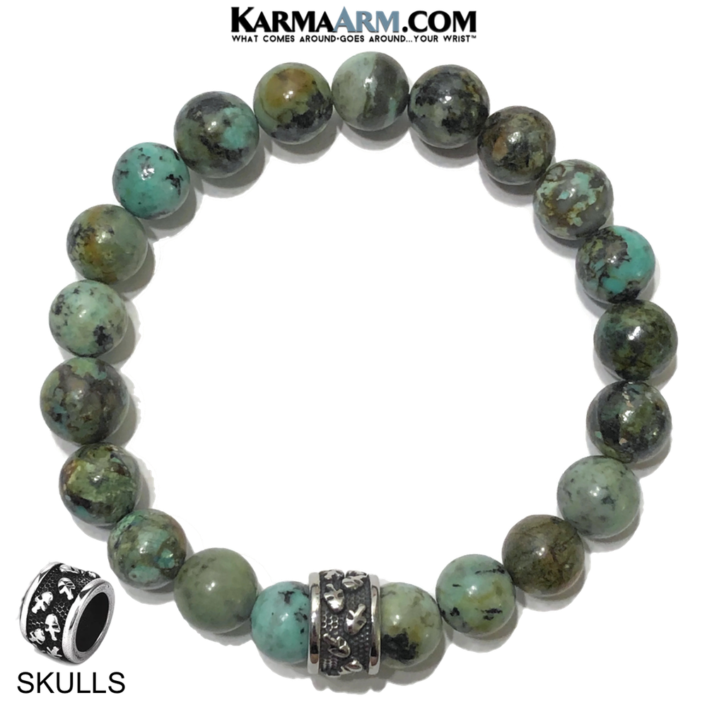 Meditation Mantra Yoga Bracelet. Self-Care Wellness Wristband Skull Jewelry.  African Turquoise    .