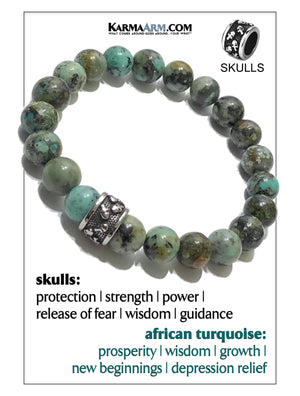 Skull Yoga Meditation bracelets. self-care wellness mens bead wristband jewelry. African Turquoise    .