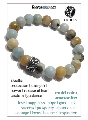 Skull Yoga Meditation bracelets. self-care wellness mens bead wristband jewelry.  Amazonite.