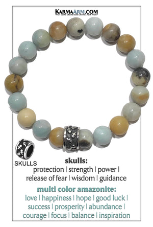 Amazonite Meditation Mantra Yoga Bracelet. Self-Care Wellness Wristband Skull Jewelry.
