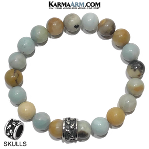 Meditation Mantra Yoga Bracelet. Self-Care Wellness Wristband Skull Jewelry. Amazonite.
