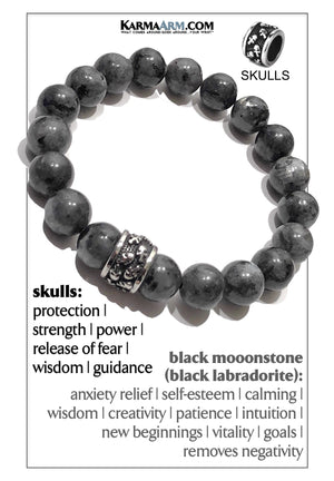 Skull Yoga Meditation bracelets. self-care wellness mens bead wristband jewelry. Black Moonstone.