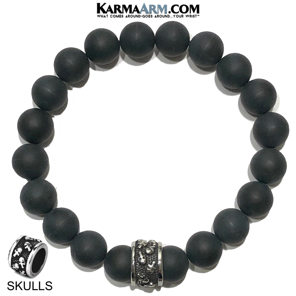 Meditation Mantra Yoga Bracelet. Self-Care Wellness Wristband Skull Jewelry.  Black Onyx Matte.