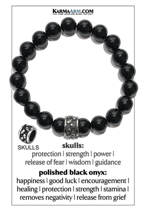 Meditation Mantra Yoga Bracelet. Self-Care Wellness Wristband Skull Jewelry. Black Onyx Polished.