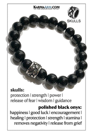 Skull Yoga Meditation bracelets. self-care wellness mens bead wristband jewelry. Black Onyx Polished.