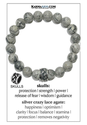 Meditation Mantra Yoga Bracelet. Self-Care Wellness Wristband Skull Jewelry. Crazy Lace Agate.