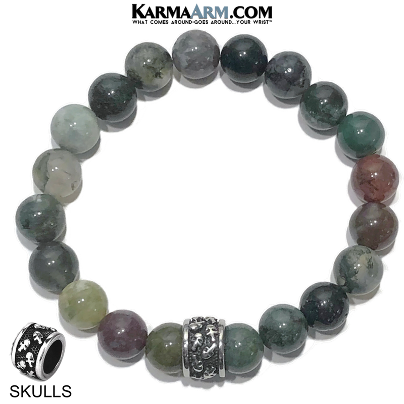 Meditation Mantra Yoga Bracelet. Self-Care Wellness Wristband Skull Jewelry. India Agate.
