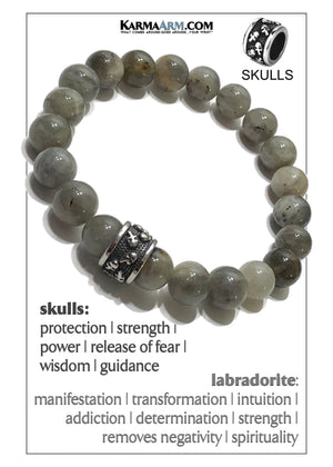 Skull Yoga Meditation bracelets. self-care wellness mens bead wristband jewelry.  Labradorite.
