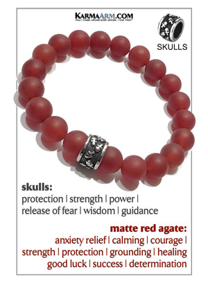Skull Yoga Meditation bracelets. self-care wellness mens bead wristband jewelry. Matte Red Agate.