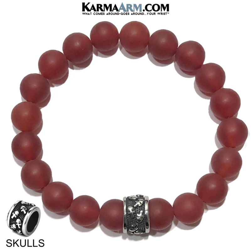 Meditation Mantra Yoga Bracelet. Self-Care Wellness Wristband Skull Jewelry. Matte Red Agate.