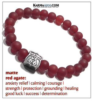 Self-Care Wellness Wristband Meditation Mantra Yoga Bracelet. Matte Red Agate. Route 66.