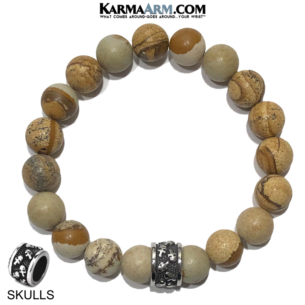 Meditation Mantra Yoga Bracelet. Self-Care Wellness Wristband Skull Jewelry. Picture Jasper.