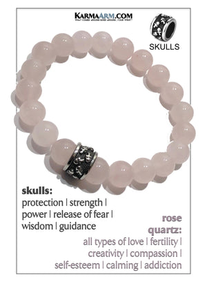 Skull Yoga Meditation bracelets. self-care wellness mens bead wristband jewelry.  Rose Quartz.
