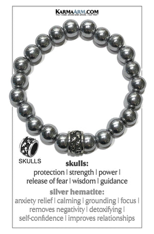 Meditation Mantra Yoga Bracelet. Self-Care Wellness Wristband Skull Jewelry. Silver Hematite.