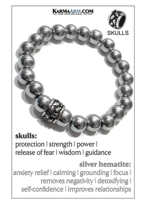 Skull Yoga Meditation bracelets. self-care wellness mens bead wristband jewelry. Silver Hematite.