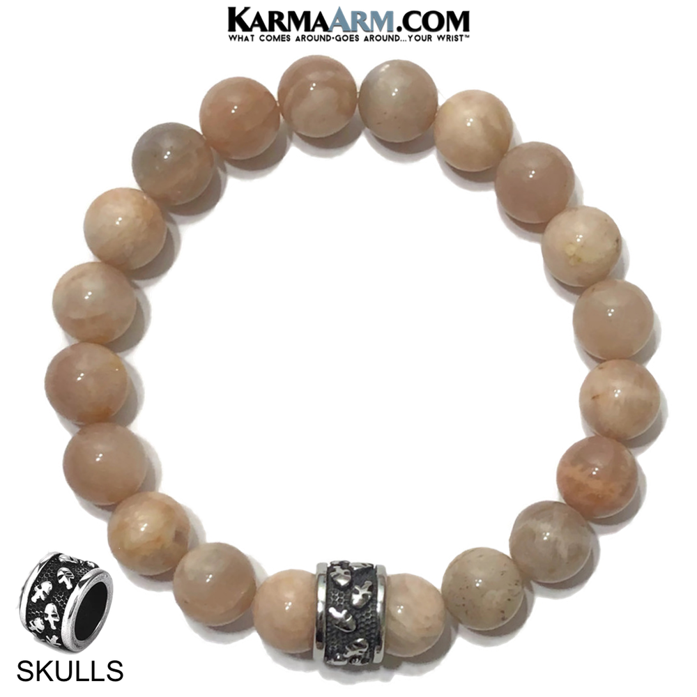 Meditation Mantra Yoga Bracelet. Self-Care Wellness Wristband Skull Jewelry. Sunstone.