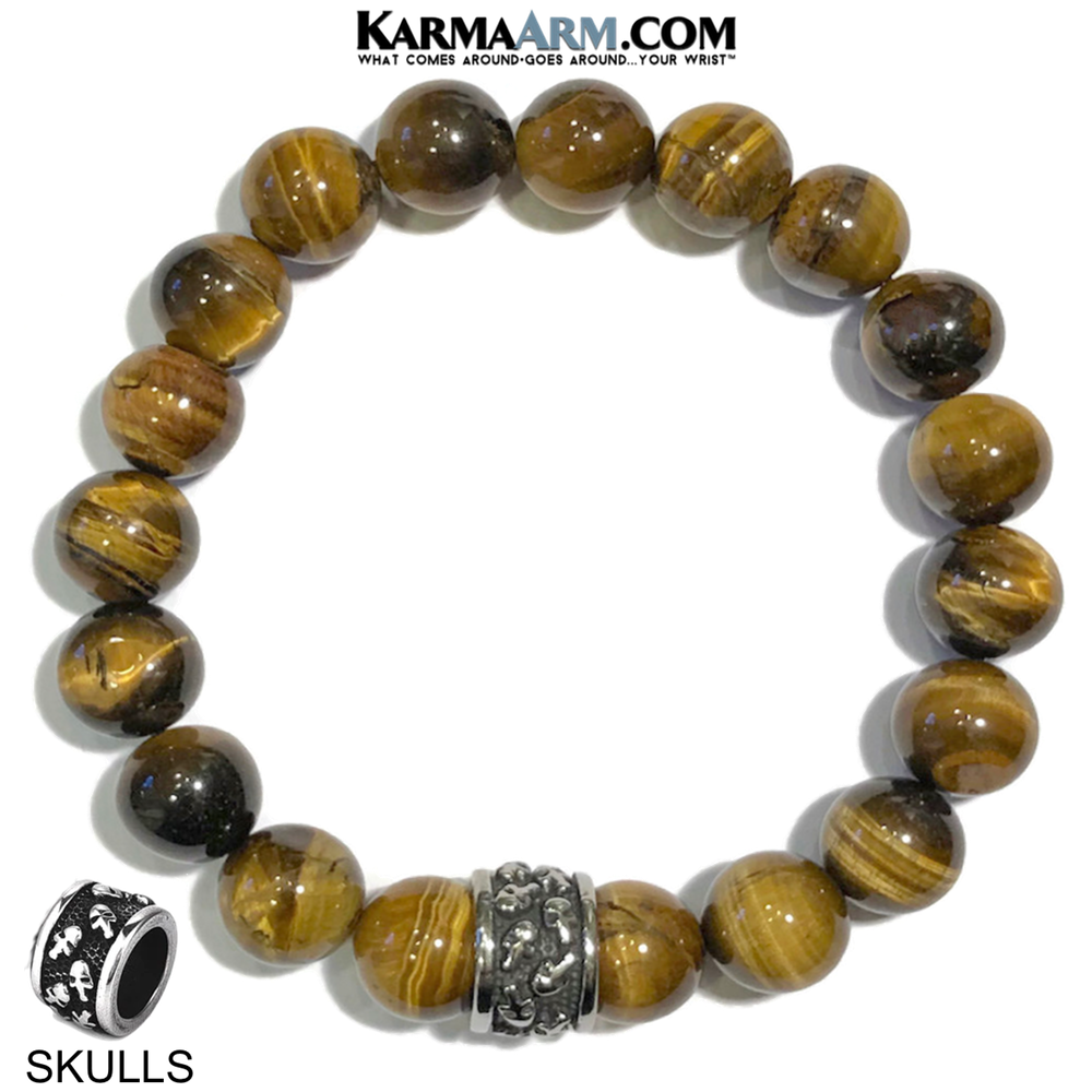 Meditation Mantra Yoga Bracelet. Self-Care Wellness Wristband Skull Jewelry. Tiger Eye.