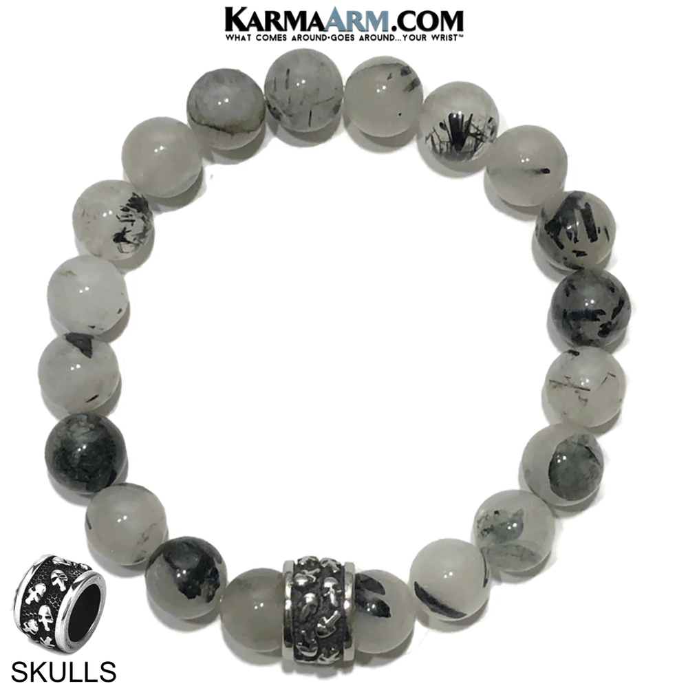 Meditation Mantra Yoga Bracelet. Self-Care Wellness Wristband Skull Jewelry. Tourmaline Quartz.
