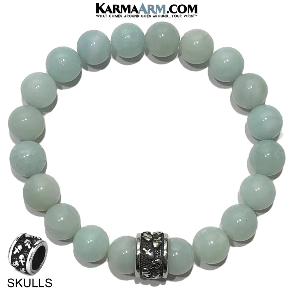 Meditation Mantra Yoga Bracelet. Self-Care Wellness Wristband Skull Jewelry. blue amazonite.
