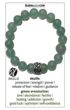 Meditation Mantra Yoga Bracelet. Self-Care Wellness Wristband Skull Jewelry. green aventurine.