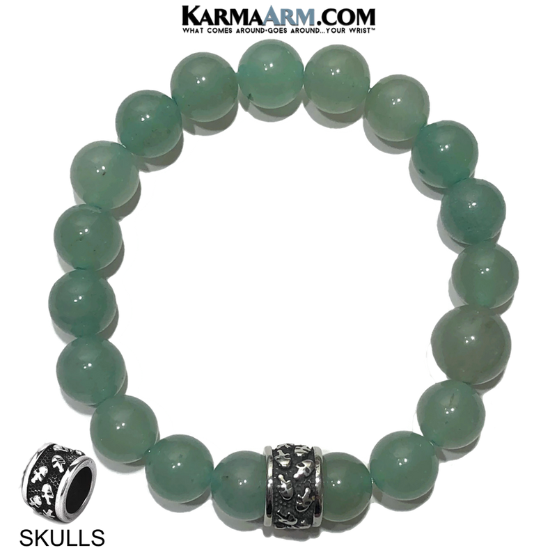 Skull Yoga Meditation bracelets. self-care wellness mens bead wristband jewelry. green aventurine.