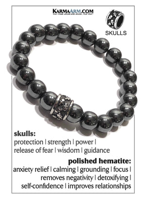 Skull Yoga Meditation bracelets. self-care wellness mens bead wristband jewelry.