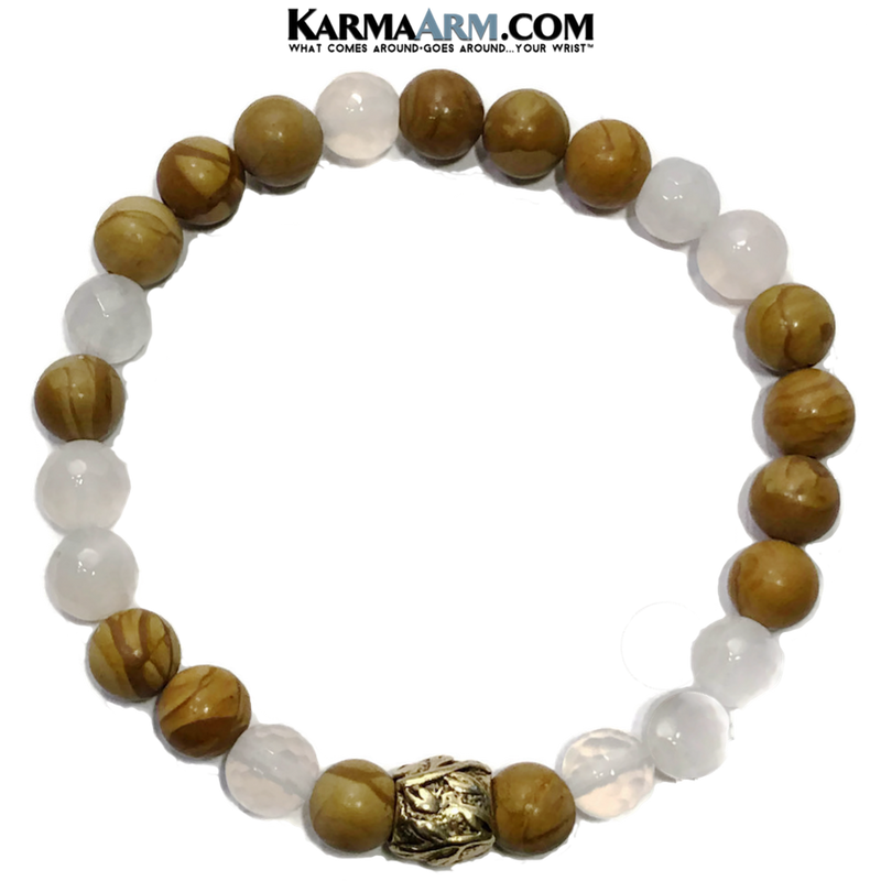 Meditation Mantra Yoga Bracelet. Self-Care Wellness Wristband White Jade.