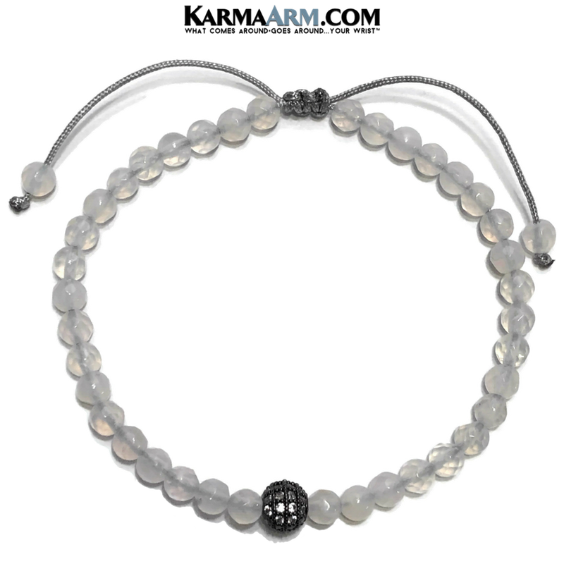 Meditation Mantra Yoga Bracelet. Self-Care Wellness Wristband White Jade. CZ Diamond Ball.