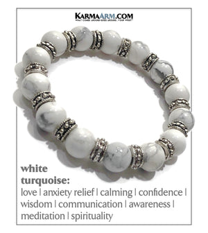 Meditation Mantra Yoga Bracelet. Self-Care Wellness Wristband White Turquoise.