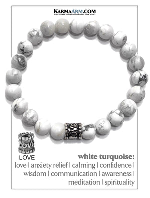 Cartier Love Bracelet Love Meditation Mantra Yoga Bracelet. Self-Care Wellness Wristband White Turquoise.