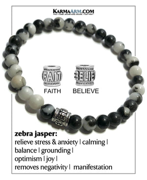 Mindfulness Meditation Mantra Yoga Bracelet. Self-Care Wellness Wristband Zebra Jasper.