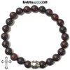 Meditation Mantra Yoga Bracelet. Self-Care Wellness Wristband Zen bead mala Jewelry. Bloodstone Cross.