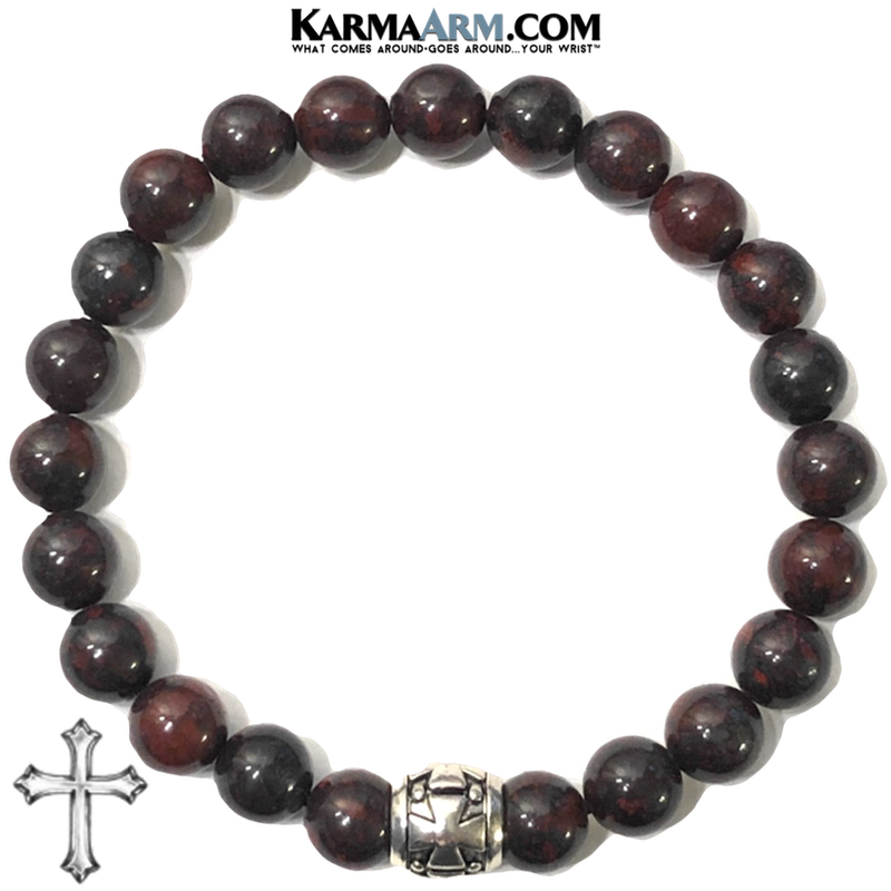 Yoga bracelets. Gothic Cross mens wristband jewelry. .Bloodstone.  copy