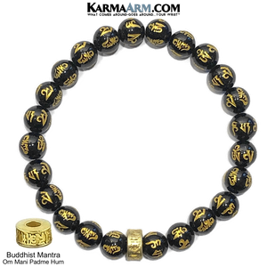 Meditation Mantra Yoga Bracelet. Self-Care Wellness Wristband Zen bead mala Jewelry. Gold Om Mani Padme Hum Wheel.