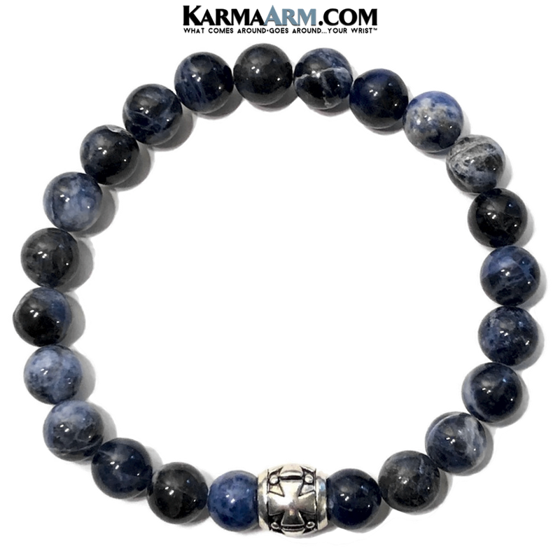 Meditation Mantra Yoga Bracelet. Self-Care Wellness Wristband Zen bead mala Jewelry. Gothic Cross Sodalite.