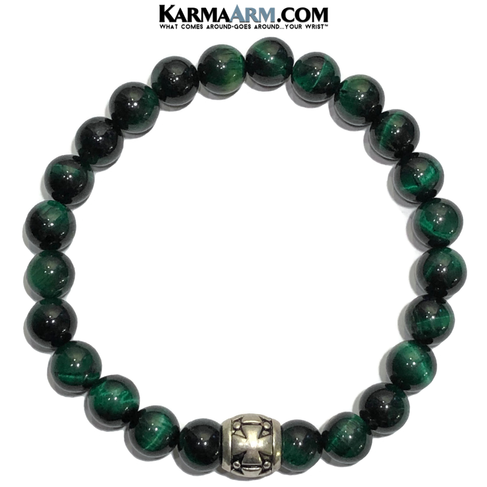 Meditation Mantra Yoga Bracelet. Self-Care Wellness Wristband Zen bead mala Jewelry.  Green Tiger Eye Gothic Cross.