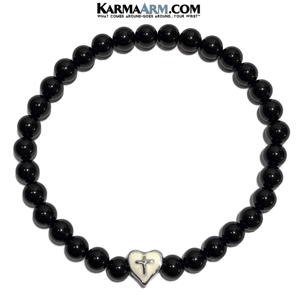 Meditation Mantra Yoga Bracelet. Self-Care Wellness Wristband Zen bead mala Jewelry. Heart Cross Black Onyx.