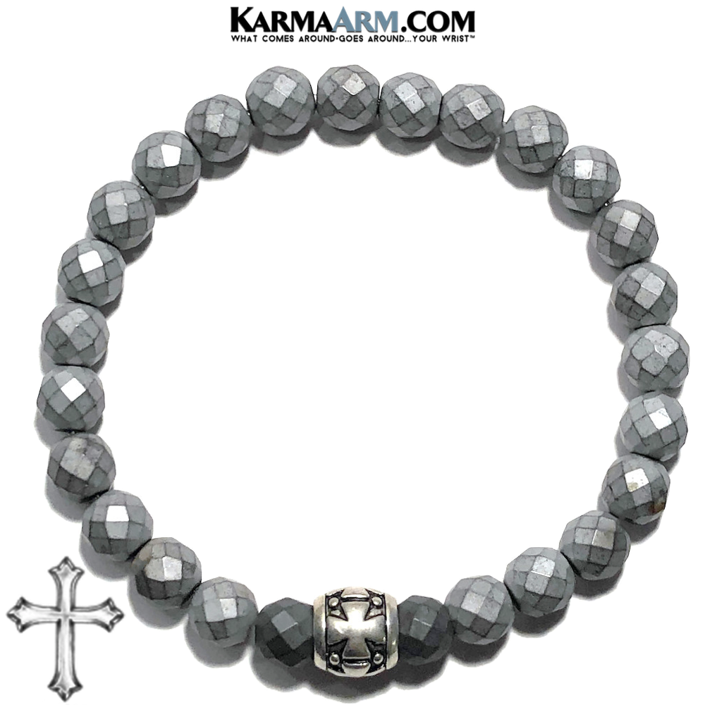 Meditation Mantra Yoga Bracelet. Self-Care Wellness Wristband Zen bead mala Jewelry. Hematite Gothic Cross.