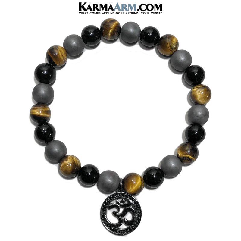 Meditation Mantra Yoga Bracelet. Self-Care Wellness Wristband Zen bead mala Jewelry.  OM HEMATITE ONYX TIGER EYE.