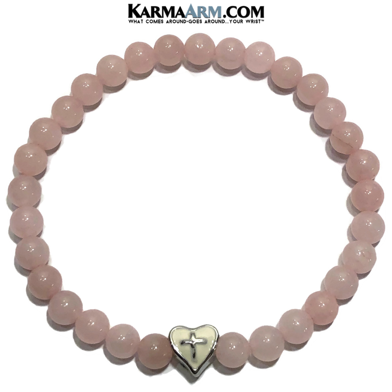 Meditation Mantra Yoga Bracelet. Self-Care Wellness Wristband Zen bead mala Jewelry. Rose Quartz Heart Cross.