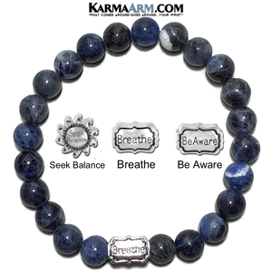Meditation Mantra Yoga Bracelet. Self-Care Wellness Wristband Be Aware Breathe Seek Balance.