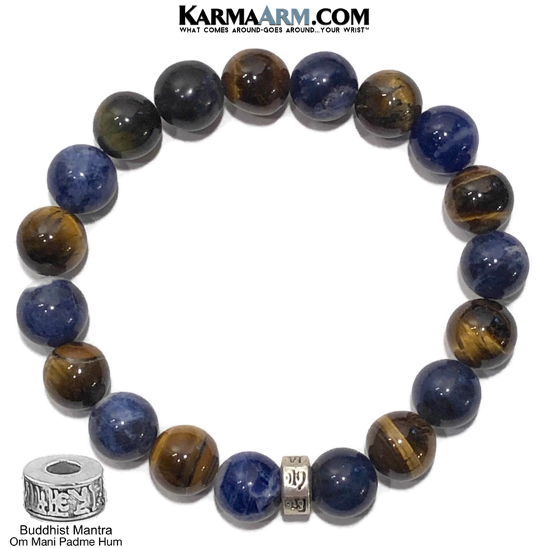 Tiger Eye Sodalite. Yoga Meditation OM bracelets. self-care wellness mens bead wristband jewelry.