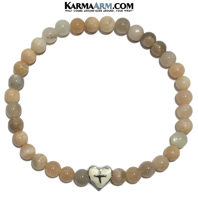 Meditation Mantra Yoga Bracelet. Self-Care Wellness Wristband Zen bead mala Jewelry. Sunstone Heart Cross.