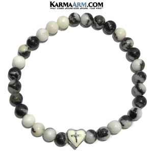 Meditation Yoga bracelets. Cross Spiritual wristband jewelry. Zebra Jasper. Heart Cross.