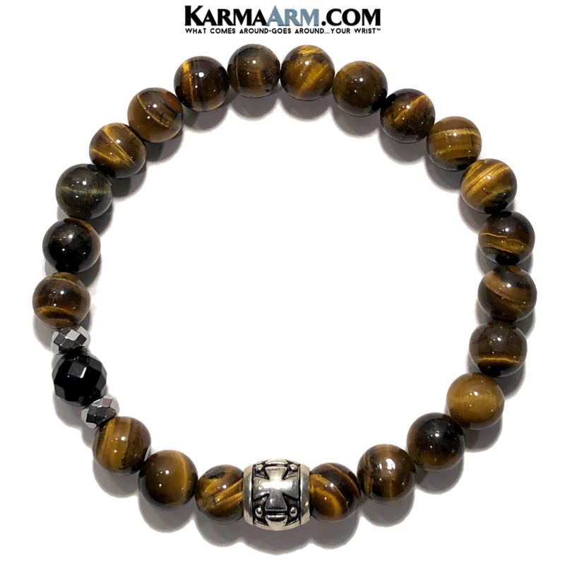 Meditation Mantra Yoga Bracelet. Self-Care Wellness Wristband Zen bead mala Jewelry. hematite Black Onyx tiger eye cross.