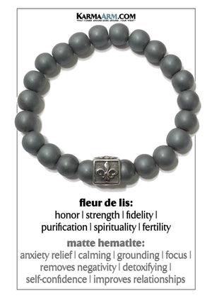 Meditation Mantra Yoga Bracelet. Self-Care Wellness Wristband Zen bead mala Jewelry. hematite Fleur de lis.