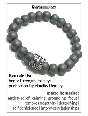 Yoga Meditation bracelets. self-care wellness mens bead wristband jewelry. matte hematite fleur de lis.