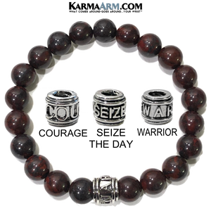 Meditation Mantra Yoga Bracelet. Warrior Courage Seize the day Jewelry. Bloodstone.