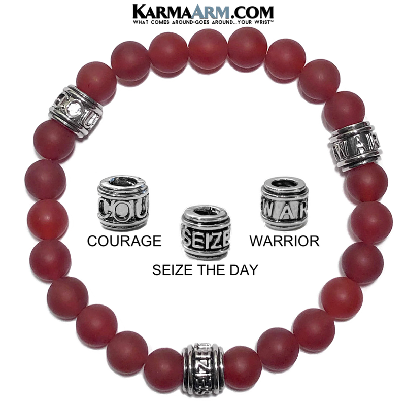 Meditation Mantra Yoga Bracelet. Warrior Courage Seize the day Jewelry. Matte Red Agate.
