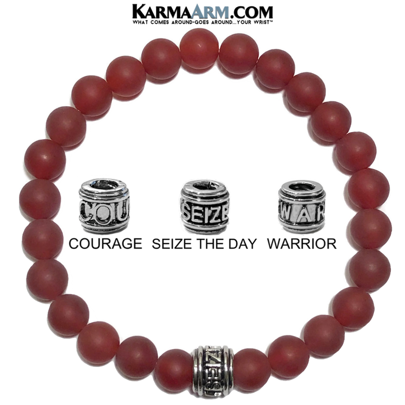 Meditation Mantra Yoga Bracelet. Warrior Courage Seize the day Jewelry. Matte Red Agate. Mens.